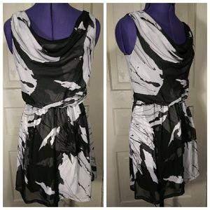 Express abstract cowl waterfall draped neck dress